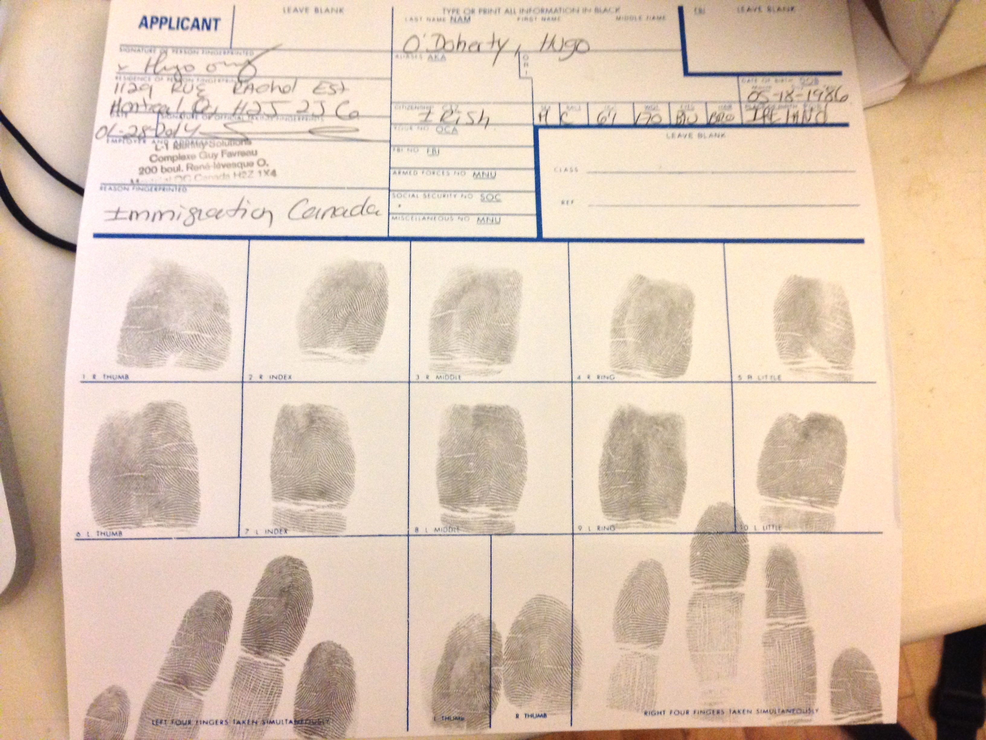My fingerprints that were sent to the FBI